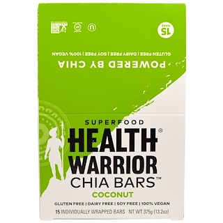 Health Warrior, Inc., Chia Bars, Coconut, 15 Bars, 13.2 oz (375 g)