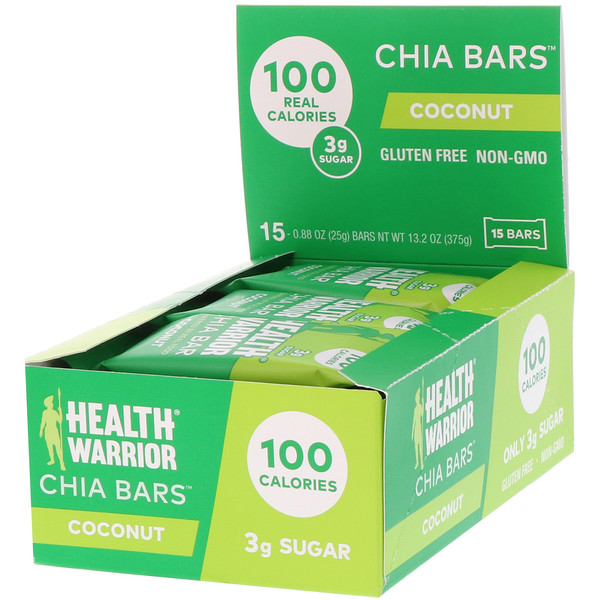 Health Warrior, Chia Bars, Coconut, 15 Bars, 13.2 oz (375 g) (Discontinued Item)