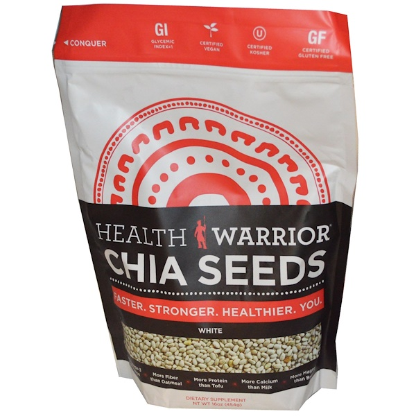 Health Warrior, Inc., Chia Seeds, White, 16 oz (454 g) (Discontinued Item)