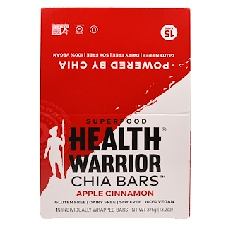 Health Warrior, Inc., Chia Bars, Apple Cinnamon, 15 Bars - (25 g) Each