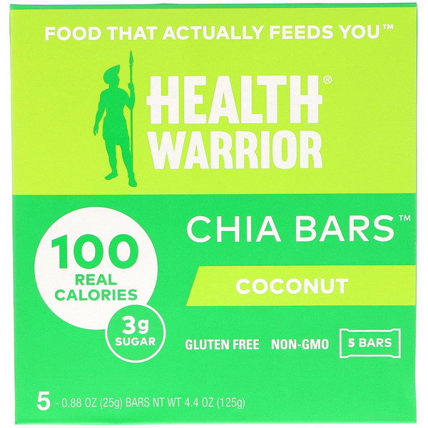 Health Warrior, Chia Bars, Coconut, 5 Bars, 0.88 oz (25 g) Each (Discontinued Item)