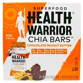 Health Warrior, Inc., スーパーフード チア バーズ、チョコレート ピーナツバター、5個、各0.88 oz (25 g)