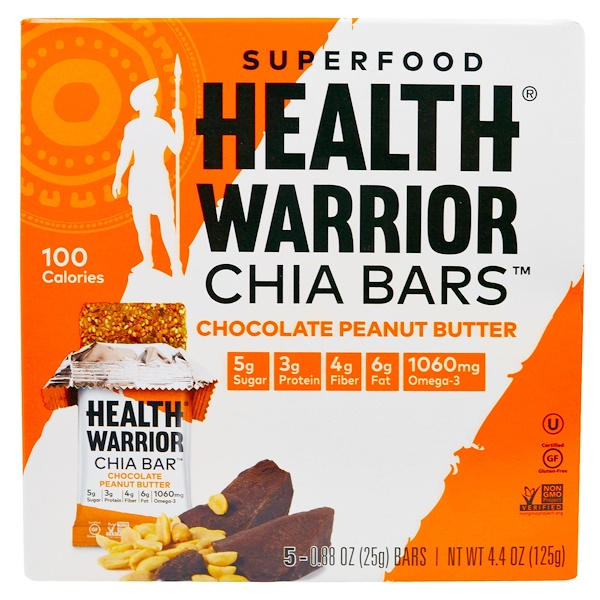 Health Warrior, Inc., Superfood Chia Bars, Chocolate Peanut Butter, 5 Bars, 0.88 oz (25 g) Each (Discontinued Item)