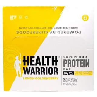Health Warrior, Inc., Superfood Protein Bar, Lemon Goldenberry, 12 Bars, 50 g Each
