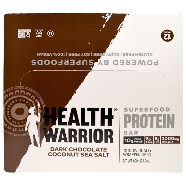 Health Warrior, Inc., Superfood Protein Bar, Dark Chocolate Coconut Sea Salt, 12 Bars, 50 g Each