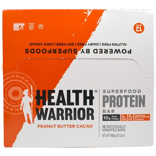 Health Warrior, Superfood Protein Bar, Peanut Butter Cacao, 12 Bars, 50 g Each (Discontinued Item)