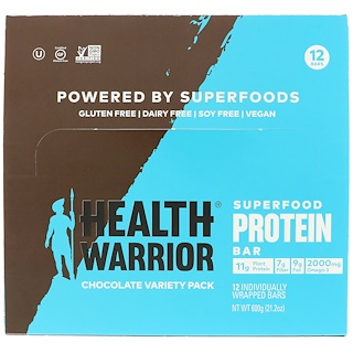 Health Warrior, Inc., Superfood Protein Bar, Chocolate Variety Pack, 12 Bars, 1.76 oz (50 g) Each