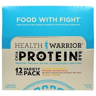 Health Warrior, Inc., Chia Protein Bars, Variety Pack, 12 Bars, 50 g Each
