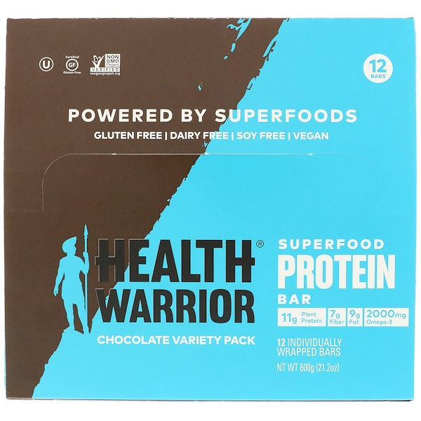 Health Warrior, Inc., Superfood Protein Bar, Chocolate Variety Pack, 12 Bars, 1.76 oz (50 g) Each