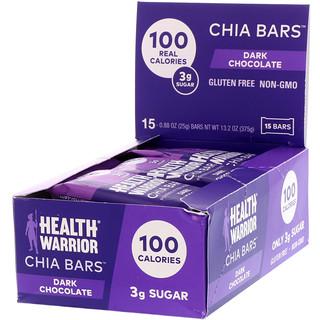 Health Warrior, Inc., Chia Bars, Dark Chocolate, 15 Bars, 0.88 oz (25 g) Each
