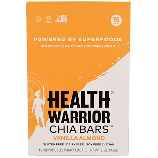 Health Warrior, Inc., Chia Bars, Vanilla Almond, 15 Bars, 13.2 oz (375 g)
