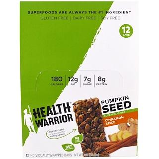 Health Warrior, Inc., Pumpkin Seed Superfood Bar, Cinnamon Spice, 12 Bars, 1.27 oz (36 g) Each
