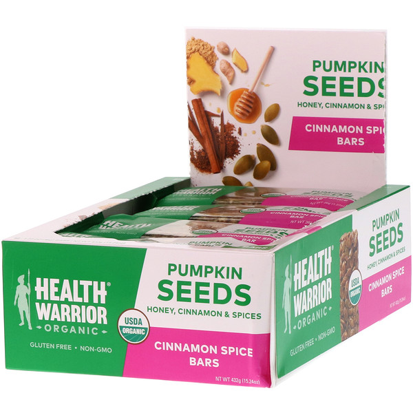 Health Warrior, Inc., Organic, Pumpkin Seed Bars, Cinnamon Spice, 12 Bars, 15.24 oz (432 g) (Discontinued Item)
