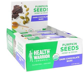 Health Warrior, Inc., Pumpkin Seed Superfood Bar, Dark Chocolate, 12 Bars, 1.23 oz (35 g) Each