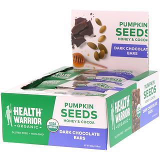 Health Warrior, Inc., Organic, Pumpkin Seed Bars, Dark Chocolate, 12 Bars, 14.8 oz (420 g)