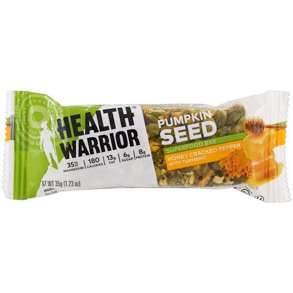 Health Warrior, Pumpkin Seed Superfood Bar, Honey Cracked Pepper with Turmeric, Trial Size, 1.23 oz (35 g) (Discontinued Item)