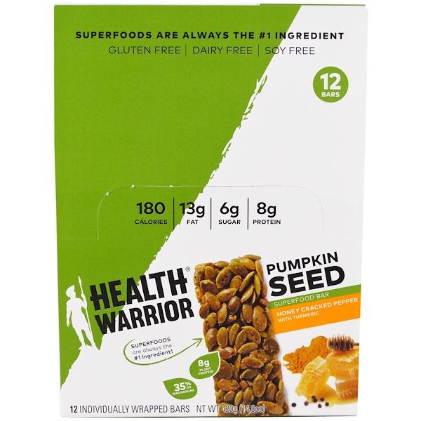Health Warrior, Inc., Батончик-суперпродукт из тыквенного семени, мед, молотый перец и куркума, 12 батончиков, по 35 г (1,23 унции) каждый (Discontinued Item)