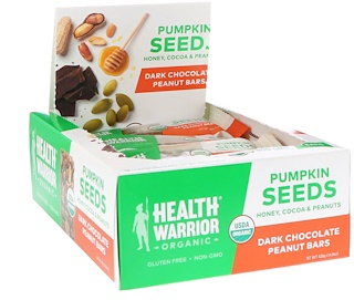 Health Warrior, Inc., Pumpkin Seeds, Dark Chocolate Peanut, 12 Bars, 14.8 oz (420 g)