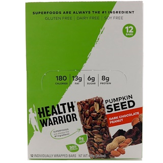 Health Warrior, Inc., Pumpkin Seed, Dark Chocolate Peanut, 12 Bars, 14.8 oz (420 g)