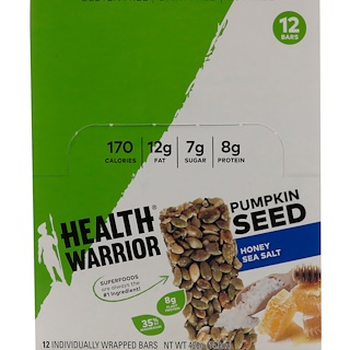 Health Warrior, Inc., Pumpkin Seed, Honey Sea Salt, 12 Bars, 14.8 oz (420 g)