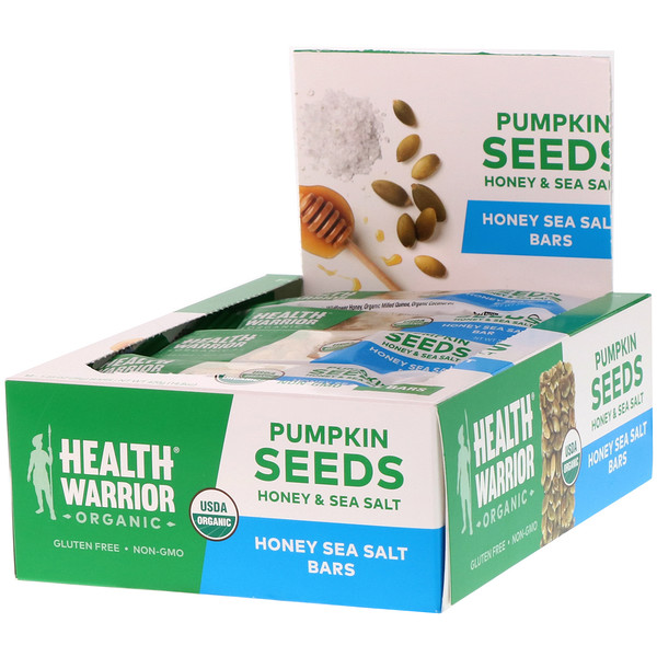 Health Warrior, Organic, Pumpkin Seed Bars, Honey & Sea Salt, 12 Bars, 14.8 oz (420 g) (Discontinued Item)