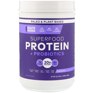 Health Warrior, Inc., Superfood Protein + Probiotics, Chocolate, 1.39 lbs (630 g)