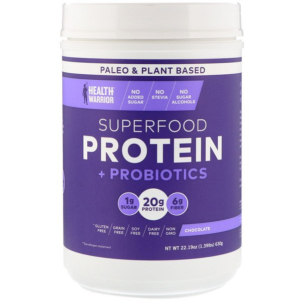 Health Warrior, Superfood Protein + Probiotics, Chocolate, 1.39 lbs (630 g)