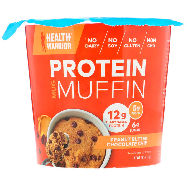 Health Warrior, Protein Mug Muffin, Peanut Butter Chocolate Chip, 2.01 oz (57 g) (Discontinued Item)