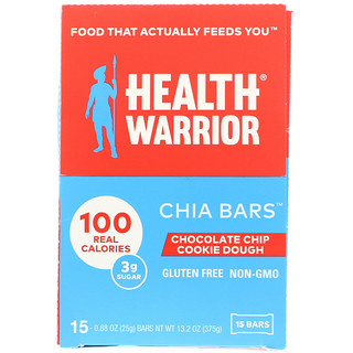 Health Warrior, Inc., Barras de Chia, Massa de Cookies com Gotas de Chocolate, 15 Barras, 0,88 oz (25 g) Cada