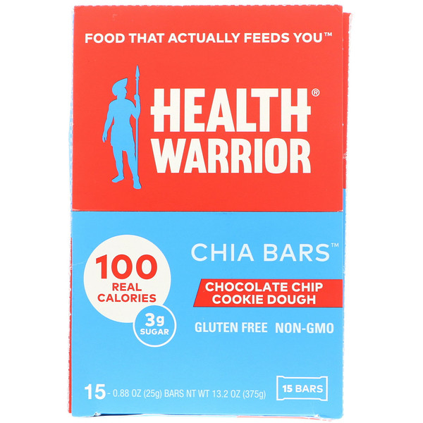 Health Warrior, Inc., Chia Bars, Chocolate Chip Cookie Dough, 15 Bars, 0.88 oz (25 g) Each