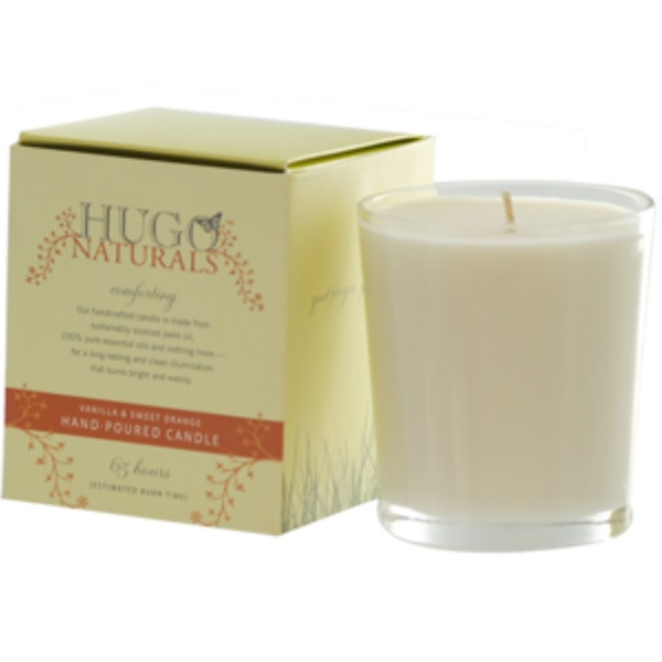 Hugo Naturals, Hand-Poured Candle, Vanilla & Sweet Orange (Discontinued Item)