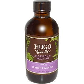 Hugo Naturals, 法國薰衣草按摩精油,外用,4盎司(117毫升)