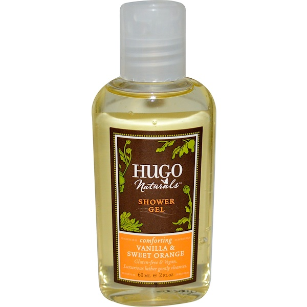 Hugo Naturals, Shower Gel, Vanilla & Sweet Orange, 2 fl oz (60 ml) (Discontinued Item)