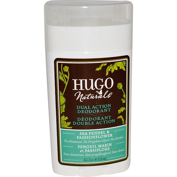 Hugo Naturals, Dual Action Deodorant, Sea Fennel & Passionflower, 1.5 oz (42.5 g) (Discontinued Item)