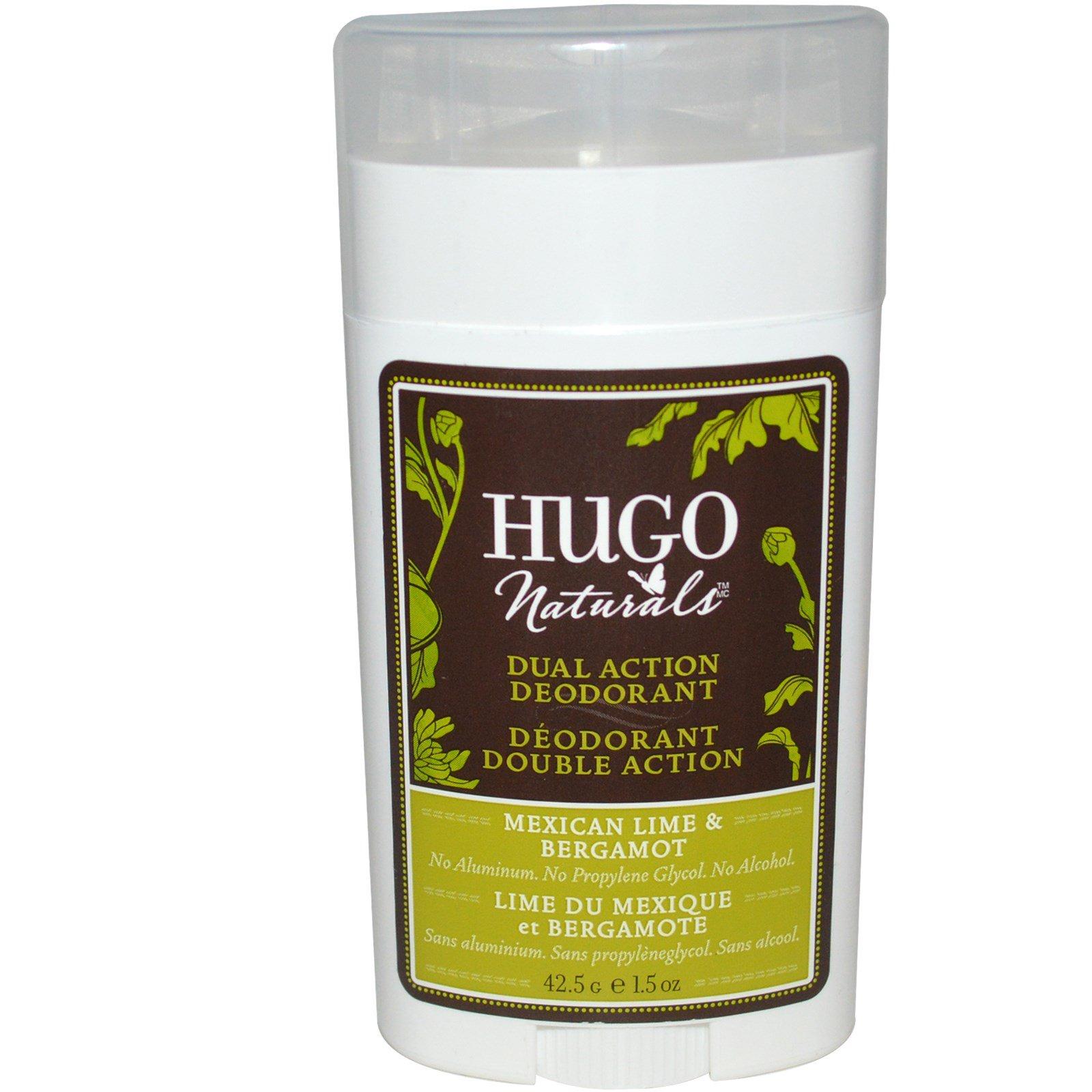 Hugo Naturals, Дезодорант двойного действия, мексиканский лайм и бергамот, 42,5 г
