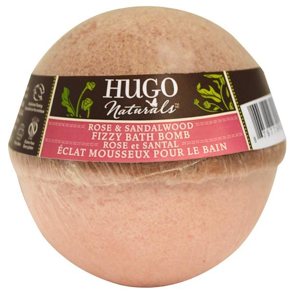 Hugo Naturals, Bombe de bain pétillante, rose et bois de santal, 170 g (Discontinued Item)