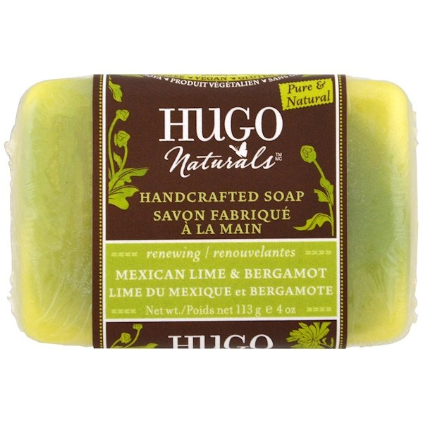 洗浴及美容香皂皂條:Hugo Naturals, 手工香皂,墨西哥酸橙和佛手柑,4盎司(113克)