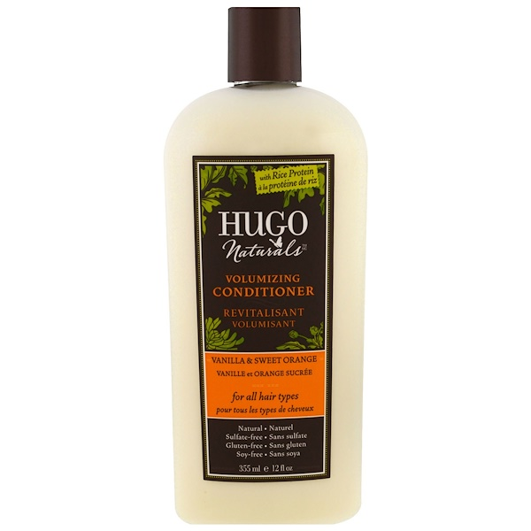 Hugo Naturals, 容量護髮素,香草&甜橙,12液量盎司(355毫升)