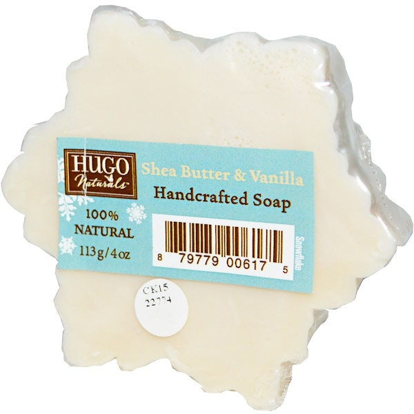 Hugo Naturals, Handcrafted Soap Snowflake, Shea Butter & Vanilla, 4 oz (113 g) (Discontinued Item)