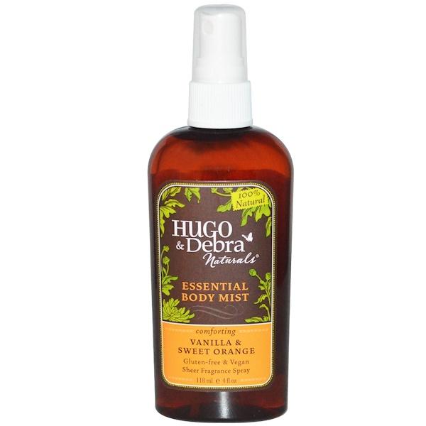 Hugo Naturals, 精華身體噴霧劑,香草和甜橙味,4液體盎司(118毫升)