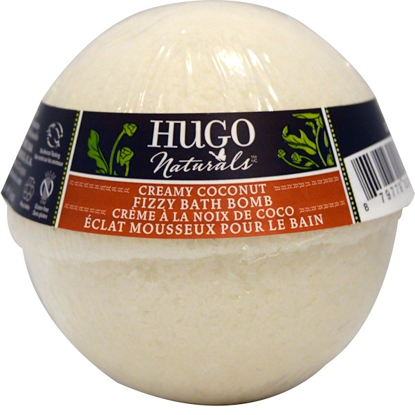 Hugo Naturals, Fizzy Bath Bomb, Creamy Coconut, 6 oz (170 g) (Discontinued Item)