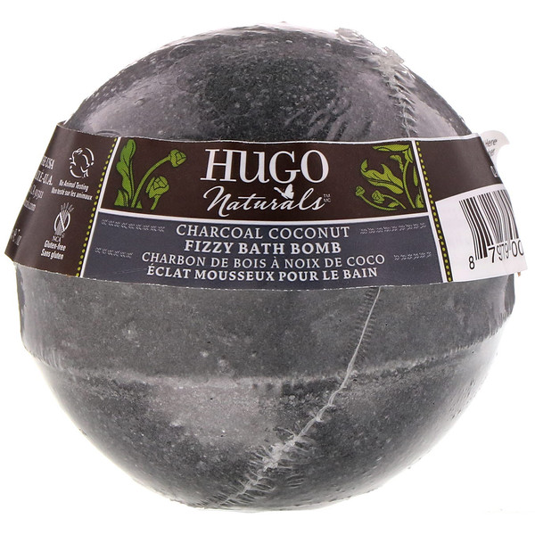 Hugo Naturals, Fizzy Bath Bomb, Charcoal Coconut, 7 oz (198 g) (Discontinued Item)