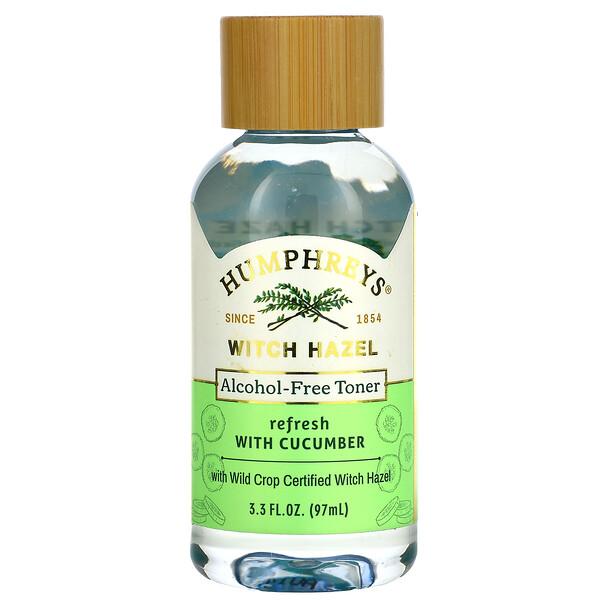 Humphrey's, Witch Hazel, Alcohol Free Toner with Cucumber, Refresh, 3.3 fl oz (97 ml) (Discontinued Item)