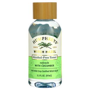 Humphrey's, Witch Hazel, Alcohol Free Toner with Cucumber, Refresh, 3.3 fl oz (97 ml)