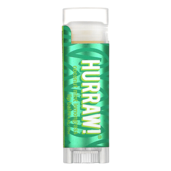 Hurraw! Balm, Lip Balm, Coconut Mint Lemongrass, .17 oz (4.8 g)