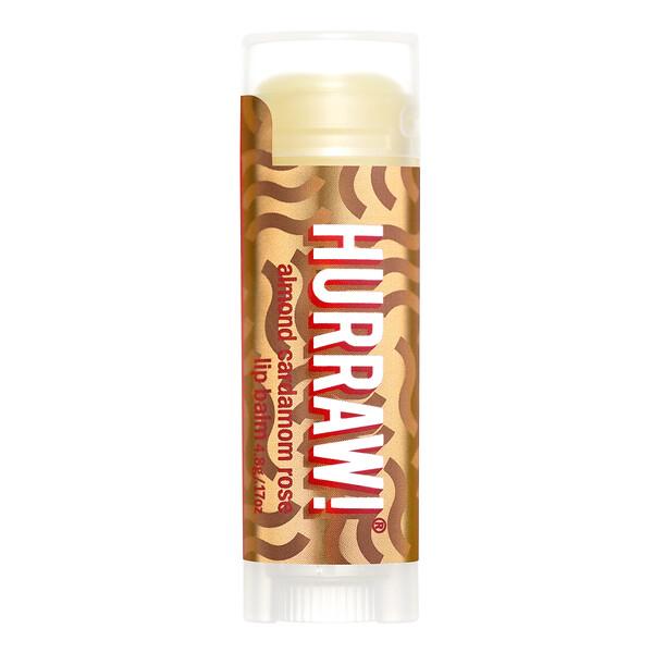 Hurraw! Balm, Lip Balm, Almond Cardamom Rose, .17 oz (4.8 g)