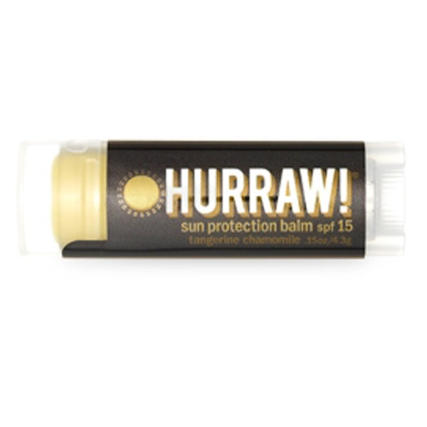 Hurraw! Balm, Sun Protection Lip Balm SPF15, Tangerine Chamomile, .15 oz (4.3 g) (Discontinued Item)