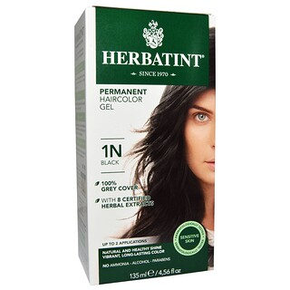 Herbatint, Gel colorador de cabelo permanente, 1N, preto, 4,56 fl oz (135 ml)