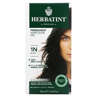 Herbatint, 长期染发凝胶,1N,黑色,4.56 液量盎司(135 毫升)