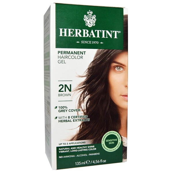 Herbatint, Permanent Haircolor Gel, 2N, 갈색, 4.56 액량 온스 (135 ml)